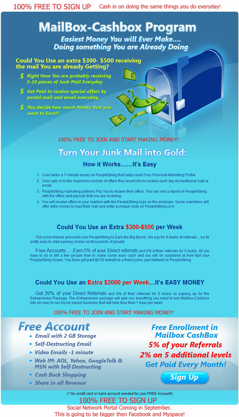 business opportunity, 100% free to sign up, turn junk mail into gold.